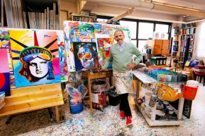 Peter Max (born Peter Max Finkelstein, October 19, 1937) is a German-born American illustrator and graphic artist, known for the use of psychedelic shapes and color palettes as well as spectra in his work. At first, works in this style appeared on posters and were seen on the walls of college dorms all across America. Max then became fascinated with new printing techniques that allowed for four-color reproduction on product merchandise. Following his success with a line of art clocks for General Electric, Max's art was licensed by 72 corporations and he had become a household name. In September 1969, Max appeared on the cover of Life magazine with an eight-page feature article as well as The Tonight Show Starring Johnny Carson and The Ed Sullivan Show.
