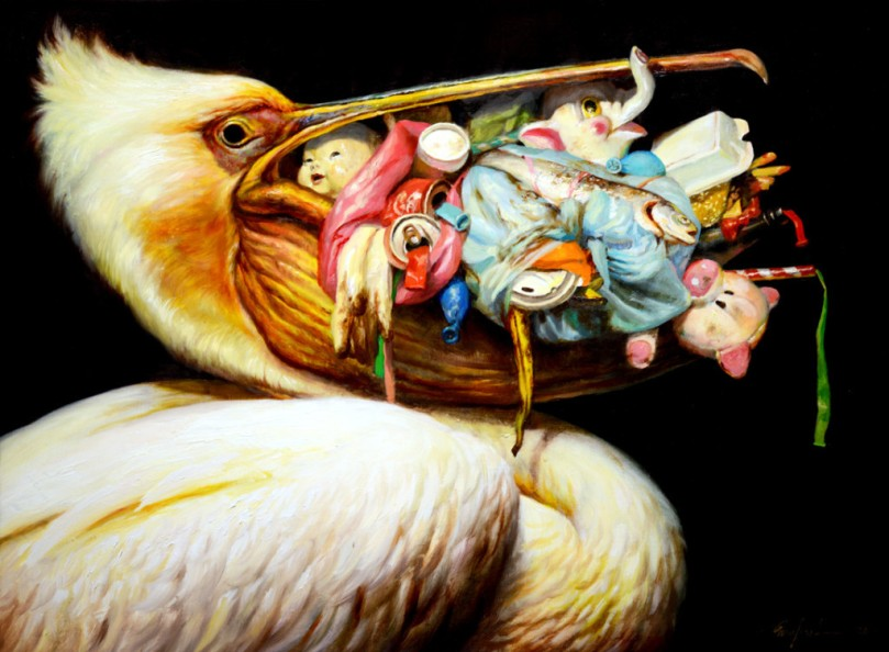 Martin-Wittfooth-Loot-Bag-2013-oil-on-canvas-18-x-24-inches-1024x7521-1024x752